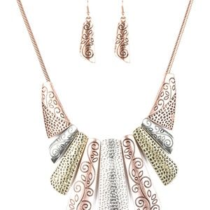 **5 for $25** Metal Color Necklace with Earrings